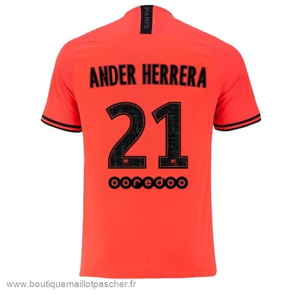 Promo NO.21 Ander Herrera Exterieur Maillot Paris Saint Germain 2019 2020 Orange