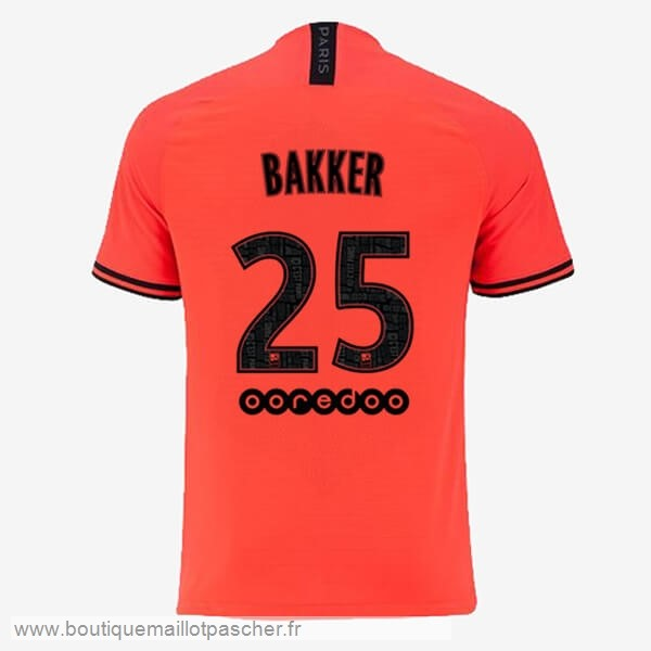 Promo NO.25 Bakker Exterieur Maillot Paris Saint Germain 2019 2020 Orange