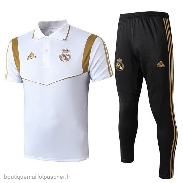 Promo Ensemble Complet Polo Real Madrid 2019 2020 Noir Blanc Or