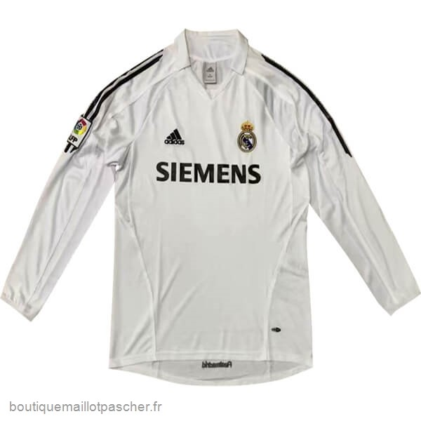 Promo Domicile Manches Longues Real Madrid Retro 05 06 Blanc
